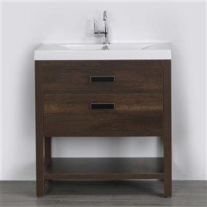 Meuble-lavabo simple brun autoportant par Streamline de 32 po avec comptoir blanc lustré