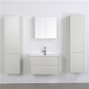 Meuble-lavabo mural simple gris cendré par Streamline de 32 po avec comptoir blanc lustré, 1 miroir et 2 lingeries
