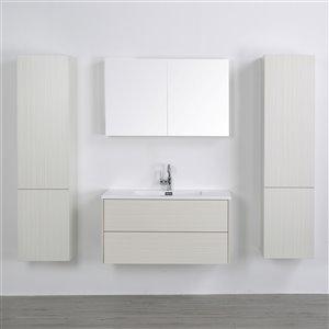 Meuble-lavabo mural simple gris cendré  par Streamline de 40 po avec comptoir blanc lustré, miroir et 2 lingeries inclus