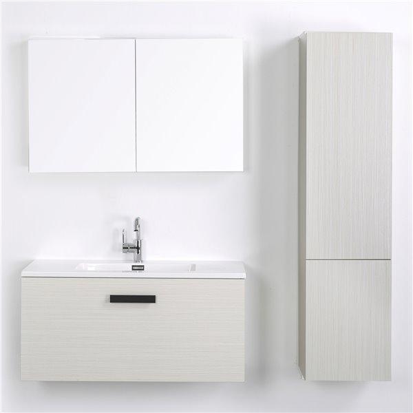 Meuble-lavabo mural simple gris cendré par Streamline de 40 po avec comptoir blanc, 1 miroir et 2 lingeries
