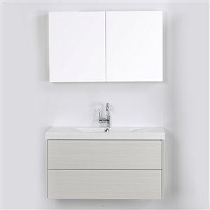 Meuble-lavabo mural simple gris cendré par Streamline de 40 po avec comptoir blanc lustré et 1 miroir