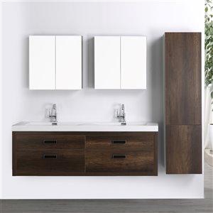 Meuble-lavabo mural double brun par Streamline de 63 po avec comptoir blanc lustré, 2 miroirs et 1 lingerie