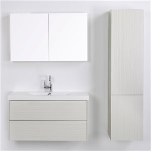 Meuble-lavabo mural simple gris cendré  par Streamline de 40 po avec comptoir blanc lustré, miroir et lingerie
