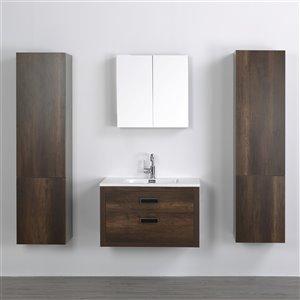 Meuble-lavabo mural simple brun par Streamline de 32 po avec comptoir blanc lustré, miroir et 2 lingeries
