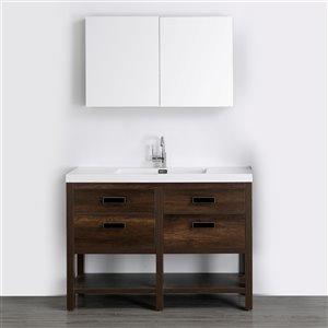 Meuble-lavabo simple brun autoportant par Streamline de 48 po avec comptoir blanc lustré et 1 miroir