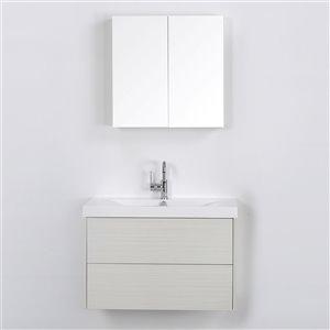 Meuble-lavabo mural simple gris cendré  par Streamline de 32 po avec comptoir blanc lustré, un miroir et une lingerie