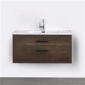 Meuble-lavabo mural rectangulaire simple brun par Streamline de 40 po avec comptoir blanc lustré