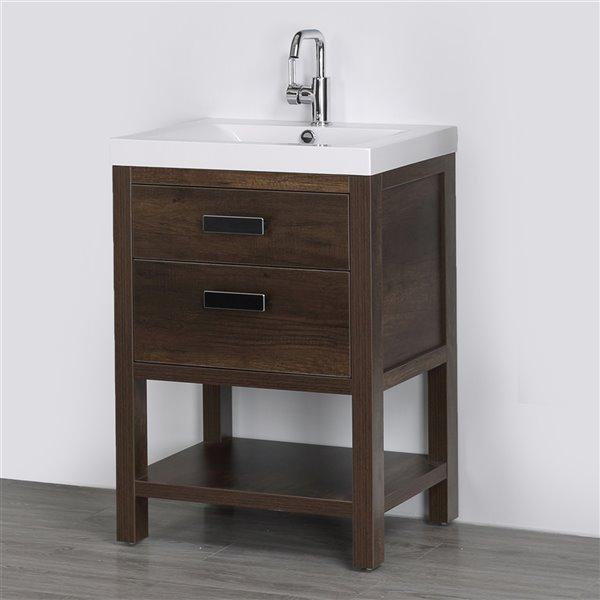 Meuble-lavabo simple brun autoportant par Streamline de 24 po avec comptoir blanc lustré