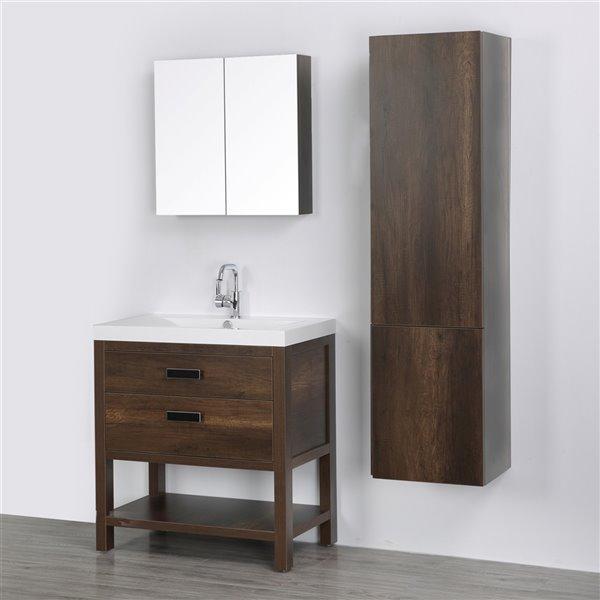 Meuble-lavabo simple brun autoportant par Streamline de 32 po avec comptoir blanc lustré, miroir et 1 armoire