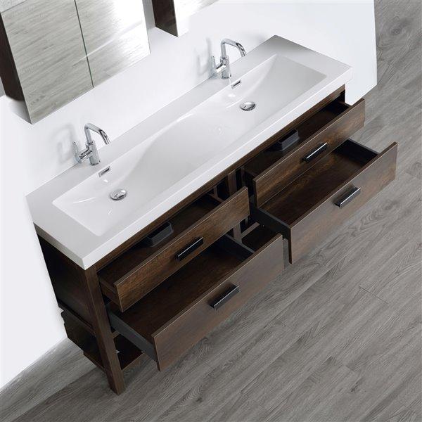 Meuble-lavabo double brun autoportant par Streamline de 63 po avec comptoir blanc lustré et 2 miroirs