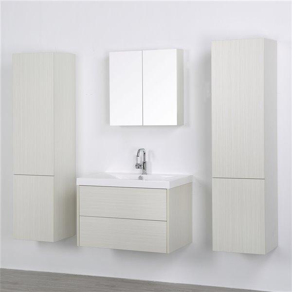 Meuble-lavabo mural simple gris cendré  par Streamline de 32 po avec comptoir blanc lustré, miroir et 2 lingeries