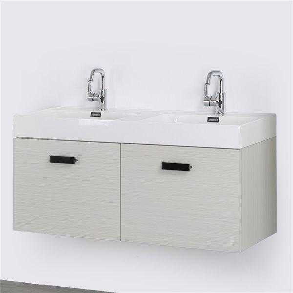Meuble-lavabo mural double gris cendré  par Streamline de 48 po avec comptoir blanc lustré et 2 tiroirs