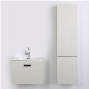 Streamline 24-in Ash Grey Single Sink Floating 1-Drawer Bathroom Vanity with Glossy White Top and 1 Side Cabinet