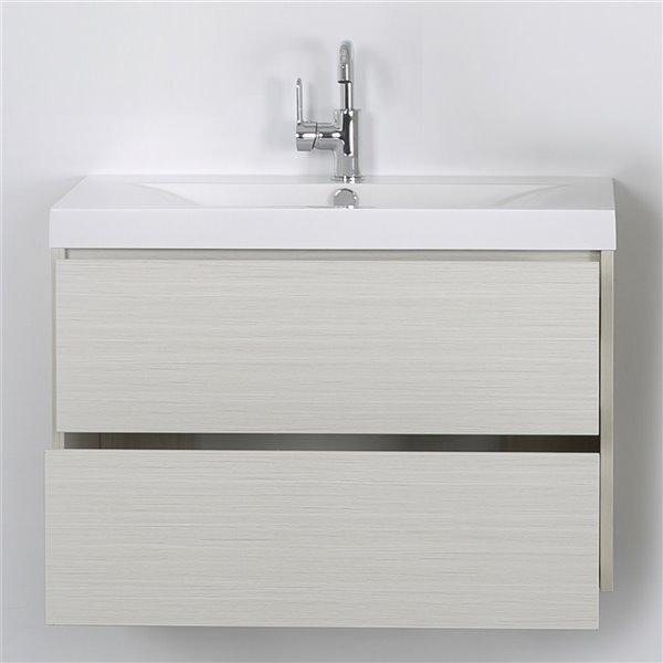Meuble-lavabo mural simple gris cendré par Streamline de 32 po avec comptoir blanc lustré