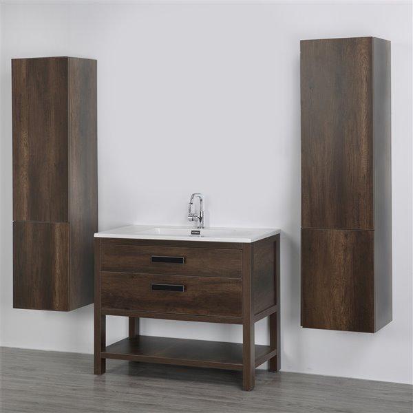 Meuble-lavabo simple brun autoportant par Streamline de 40 po avec comptoir blanc lustré et 2 lingeries