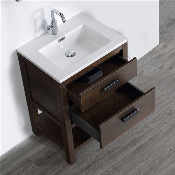 Meuble-lavabo simple brun autoportant par Streamline de 24 po avec comptoir blanc et 1 miroir inclus