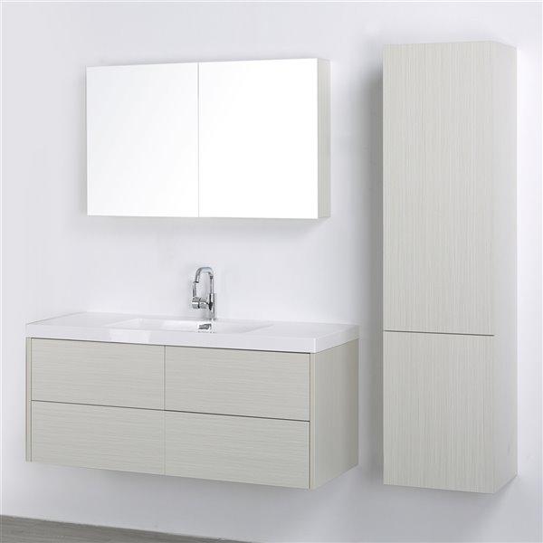 Meuble-lavabo mural simple gris cendré par Streamline de 48 po avec comptoir blanc lustré, 1 miroir et 1 lingerie