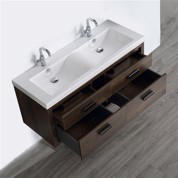 Meuble-lavabo mural double, brun par Streamline de 48 po avec comptoir blanc lustré