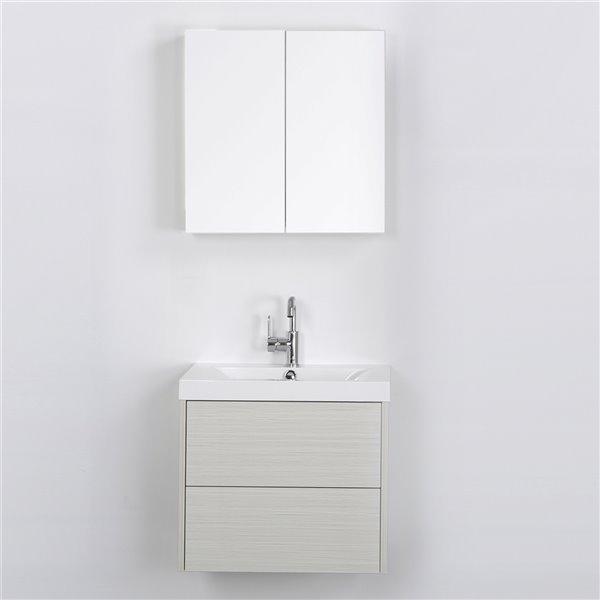 Meuble-lavabo mural simple gris cendré par Streamline de 24 po avec comptoir blanc lustré et 1 miroir