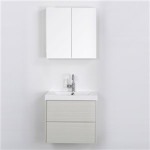 Streamline 24-in Ash Grey Single Sink Floating Bathroom Vanity with Glossy White Top and Mirror