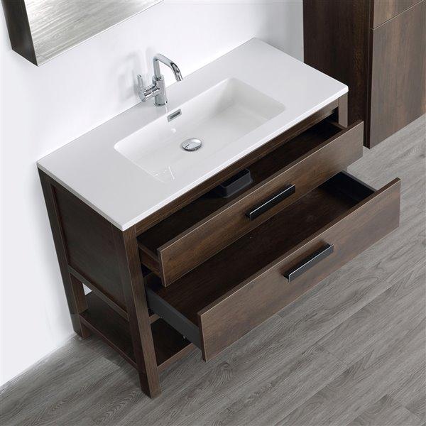 Meuble-lavabo simple brun autoportant par Streamline de 40 po avec comptoir blanc lustré, miroir et lingerie autoportante