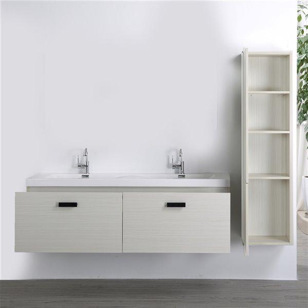 Meuble-lavabo mural double gris cendré par Streamline de 63 po avec comptoir blanc lustré et 1 lingerie incluse