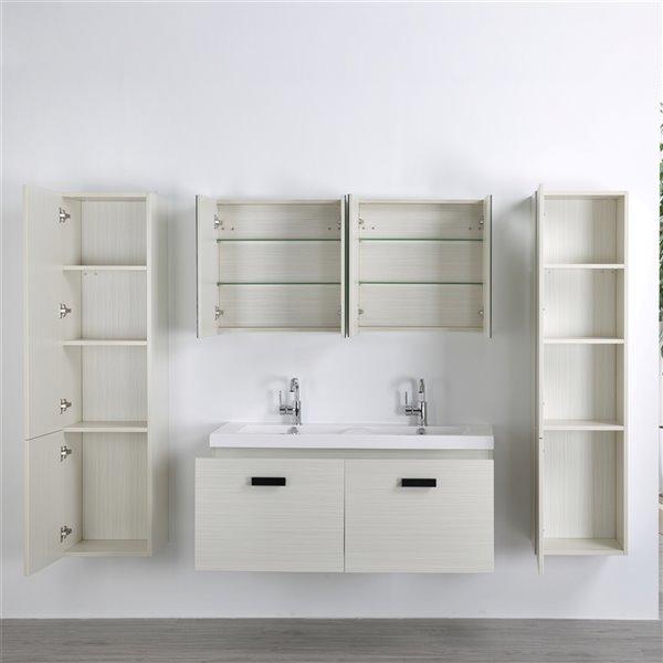 Meuble-lavabo mural simple gris cendré par Streamline de 48 po avec comptoir blanc lustré (2 miroirs et 2 lingeries)