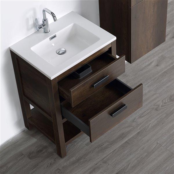 Meuble-lavabo simple brun autoportant par Streamline de 24 po avec comptoir blanc lustré et 1 lingerie autoportante