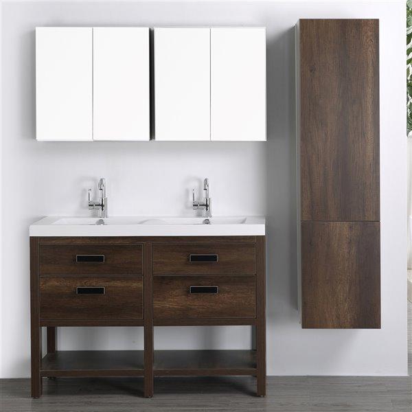 Meuble-lavabo simple brun autoportant par Streamline de 48 po avec comptoir blanc lustré, 2 miroirs et 1 lingerie