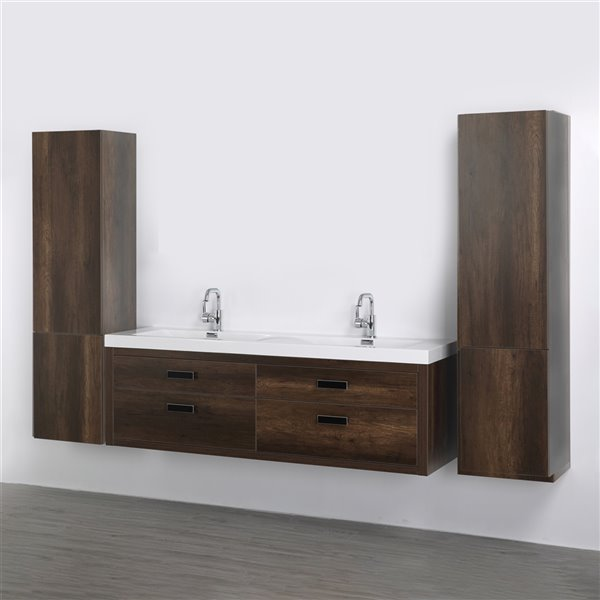 Meuble-lavabo mural double brun par Streamline de 63 po avec comptoir blanc lustré et 2 lingeries