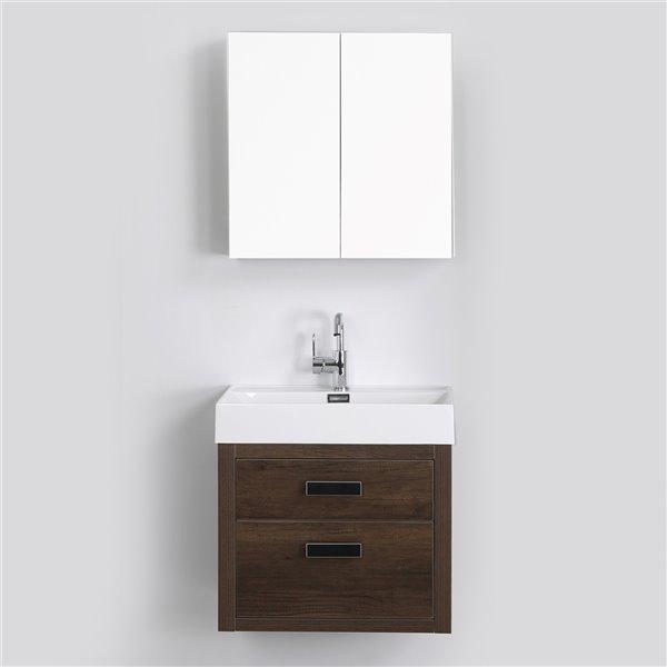 Meuble-lavabo mural simple brun par Streamline de 24 po avec comptoir blanc lustré et 1 mirror