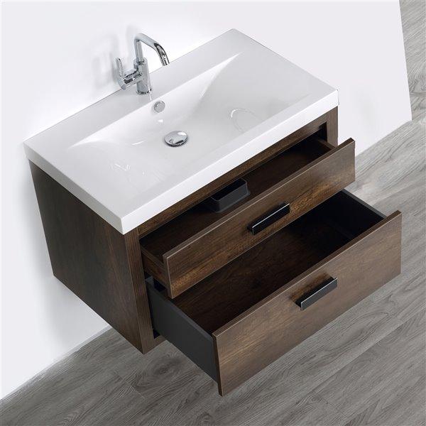 Meuble-lavabo mural simple brun par Streamline de 32 po avec comptoir blanc lustré
