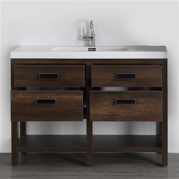 Meuble-lavabo simple brun autoportant par Streamline de 48 po avec comptoir blanc lustré et 2 tiroirs