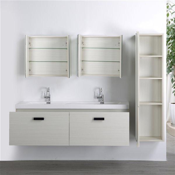 Meuble-lavabo mural double gris cendré  par Streamline de 63 po avec comptoir blanc lustré, 2 miroirs et 1 lingerie