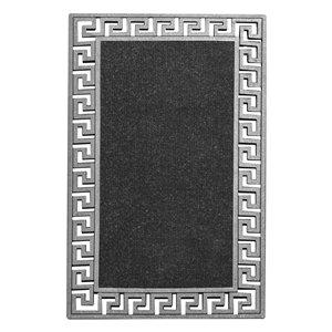 Tapis d'accueil intérieur rectangulaire de Modern Homes, 17,7 po x 29,5 po, argent
