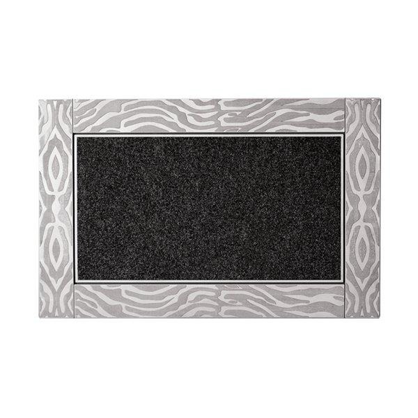 Tapis d'accueil intérieur rectangulaire de Modern Homes, 35 po x 24 po, argent