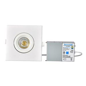 Éclairage encastré carré blanc à intensité variable avec DEL intégrée 4 po équivalent de 60 watts de TorontoLed