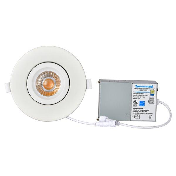 Éclairage encastré rond blanc à intensité variable avec DEL intégrée équivalent de 60 watts 4 po de TorontoLed