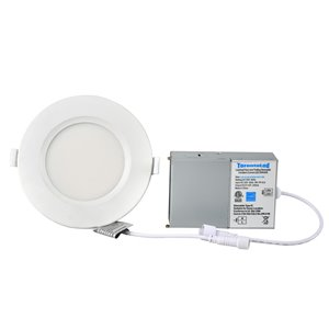 Éclairage encastré blanc rond à intensité variable avec DEL intégrée 4 po équivalent de 60 watts de TorontoLed