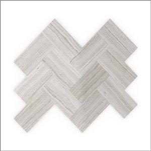 Échantillon de tuile murale autocollante chevron Sesame 3x Faster en pierres naturelles grises 4 po de Speed Tiles
