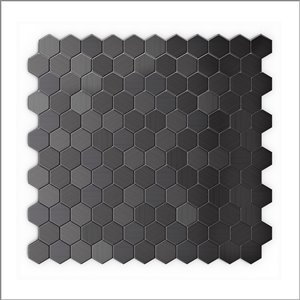 Tuile autocollante murale Hex II 3x Faster de 12 po en aluminium brossé noir de Speed Tiles, paquet de 6
