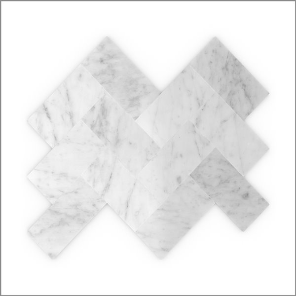 Échantillon de tuile murale autocollante chevron Sea Salt 3x Faster en pierres naturelles blanches de 4 po de Speed Tiles