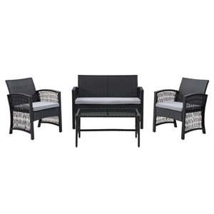 CorLiving Parksville 4-Piece Metal Frame Wicker Flared Sofa Set with Cushions