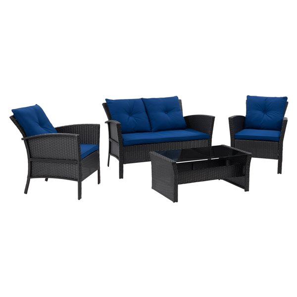 CorLiving Cascade 4-Piece Metal Frame Wicker Patio Set with Cushions