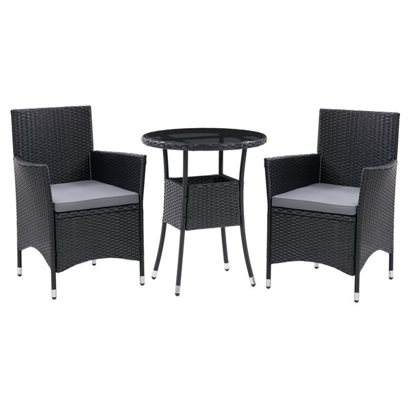 CorLiving Parksville 3-Piece Black Wicker and Metal Frame with Ash Grey Cushions Dining Set