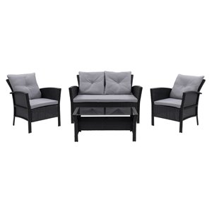 CorLiving Cascade 4-Piece Metal Frame/Wicker Patio Set with Cushions