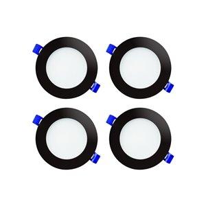 Luminaire encastré DEL à intensité variable Ason Decor, 10 W, 4 po, noir, ensemble de 4