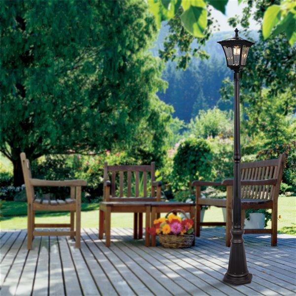 Sterno Home 76.1-in Black Solar LED Post Light