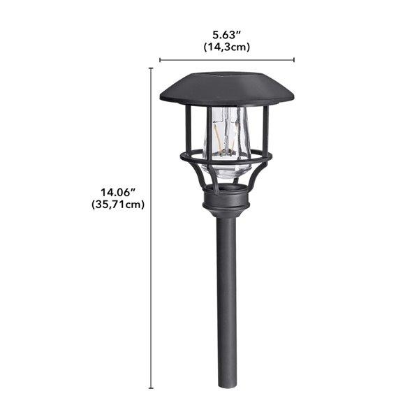 Lumière de sentier solaire DEL noire 10x plus lumineux de Sterno Home, paquet de 4