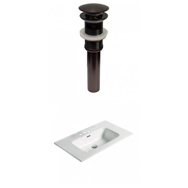 Lavabo simple en argile réfractaire blanche de 24,16 po d'American Imaginations avec quincaillerie bronze huilé